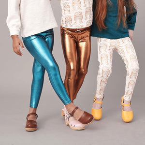 Pink Chicken Lamé Legging 2y turquoise lame - 19ffpc503j
