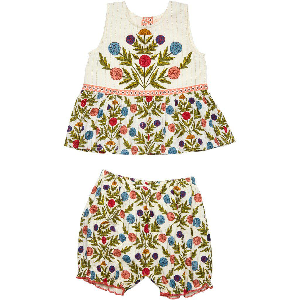 Our Libby 2-piece set for Baby Girl in Multi-Marigold floral pattern.
