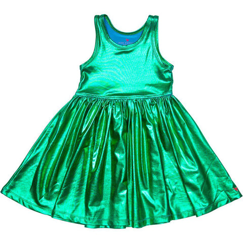 Pink Chicken Liza Lamé Dress 2y mermaid green - 19spc238c