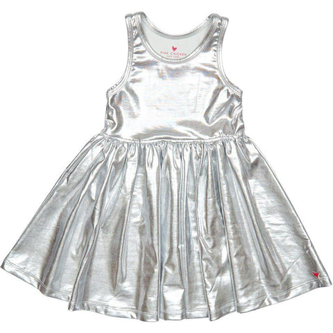 Pink Chicken Liza Lamé Dress 2y silver - 19spc238a