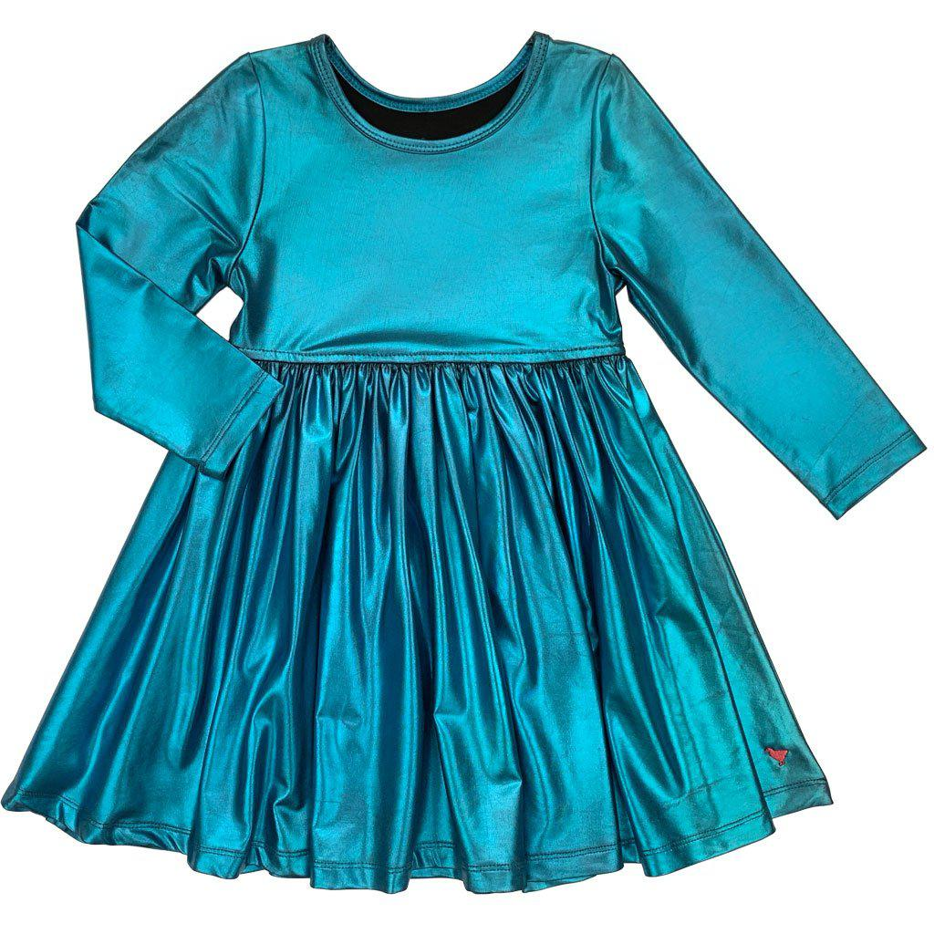 Pink Chicken Liza Lamé Dress 2y 19ffpc238a - turquoise lame