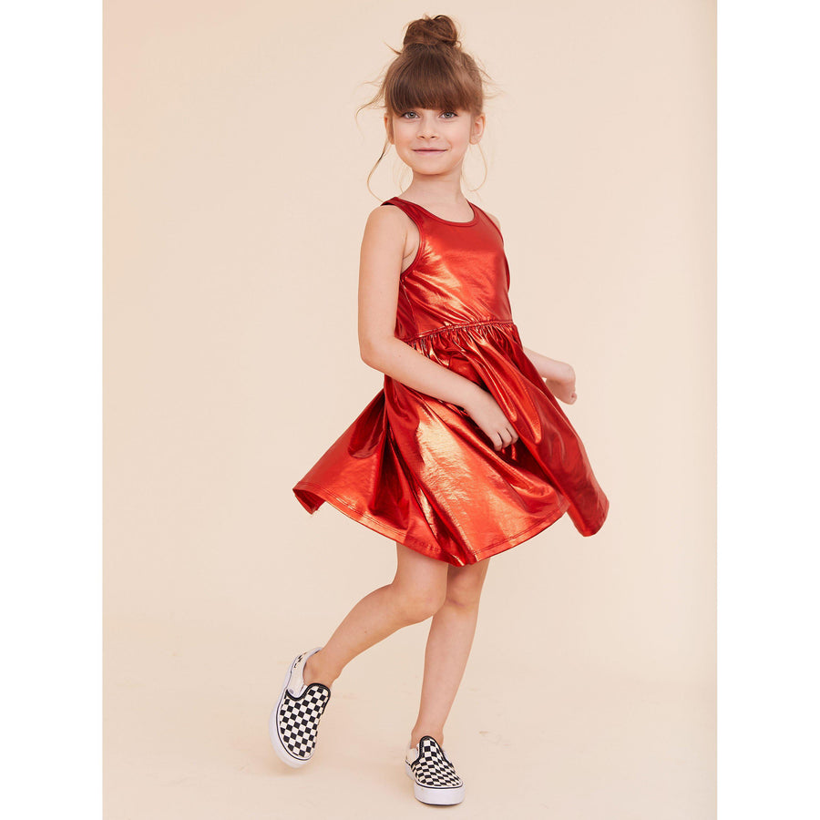 Pink Chicken Liza Lamé Dress 2y red - 20espc238a