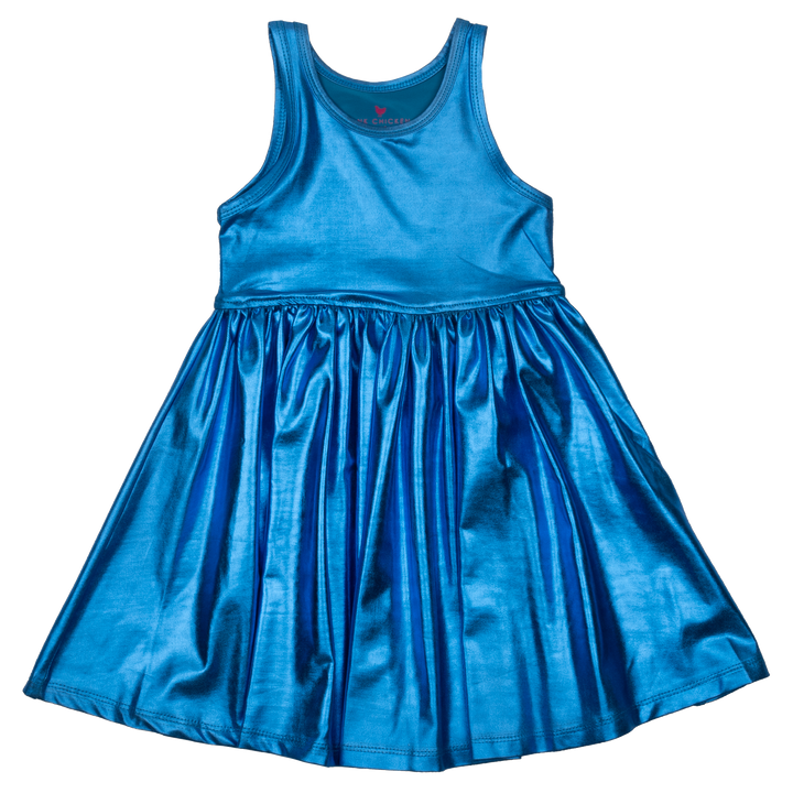 Pink Chicken Liza Lamé Dress 2y Blue