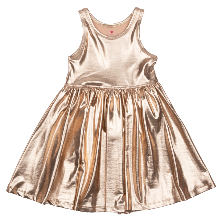 Pink Chicken Liza Lamé Dress 2y rose gold