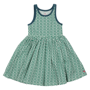 Pink Chicken Liza Dress 2y bosphorous green lattice