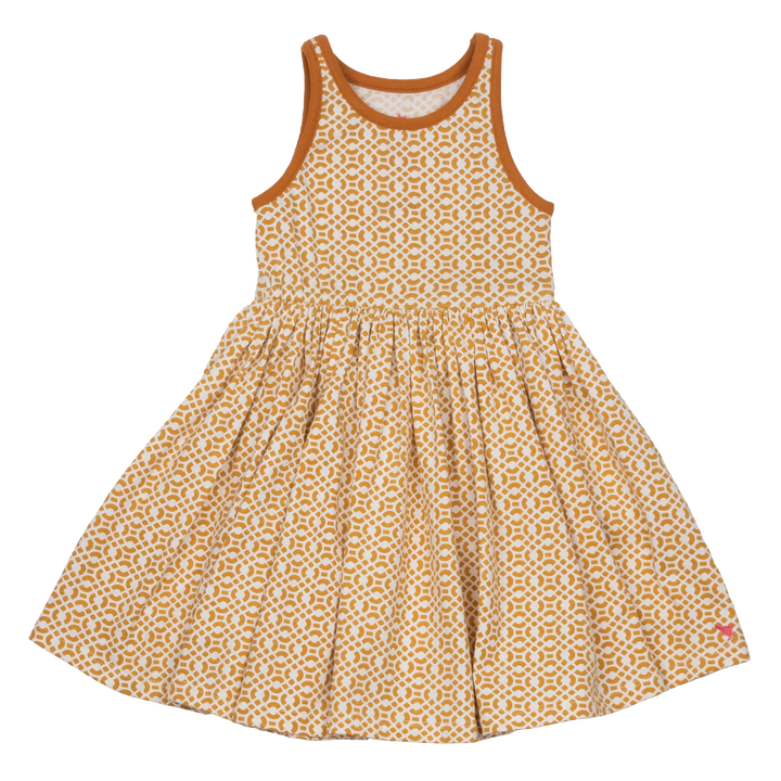 Pink Chicken Liza Dress 2y mineral yellow lattice