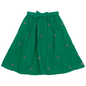 Pink Chicken Loretta Skirt 2y bosphorous green w/ embroidery