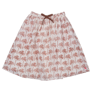 Pink Chicken Loretta Skirt 2y raw umber pine trees