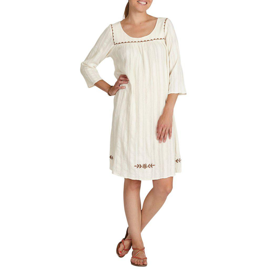 Women wearing the long sleeved antique white Marabelle dress.