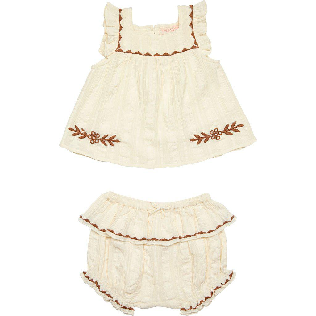 White/brown cotton gauze 2 piece set with brown floral embroidery.