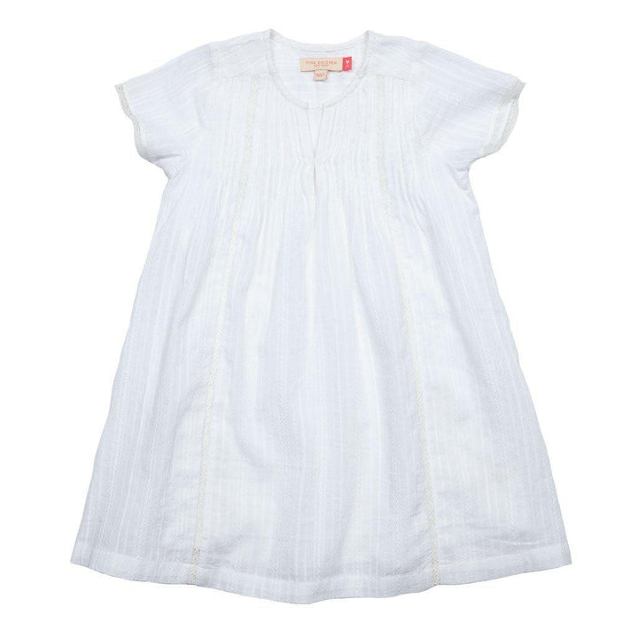 Pink Chicken Marlow Dress 2y white braided stripe - 17supc164a