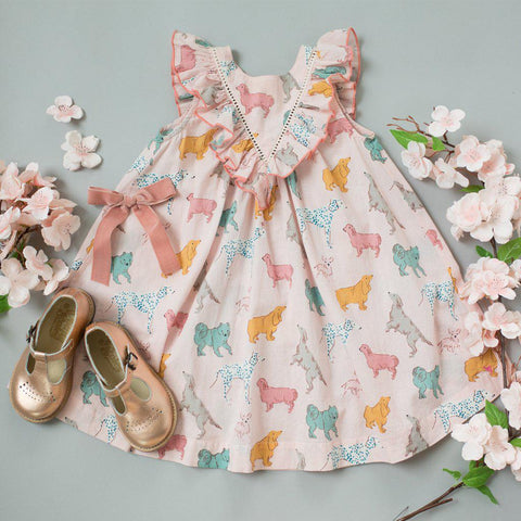 Pink Chicken Marly Dress 2y crystal rose dogs - 19spc289a