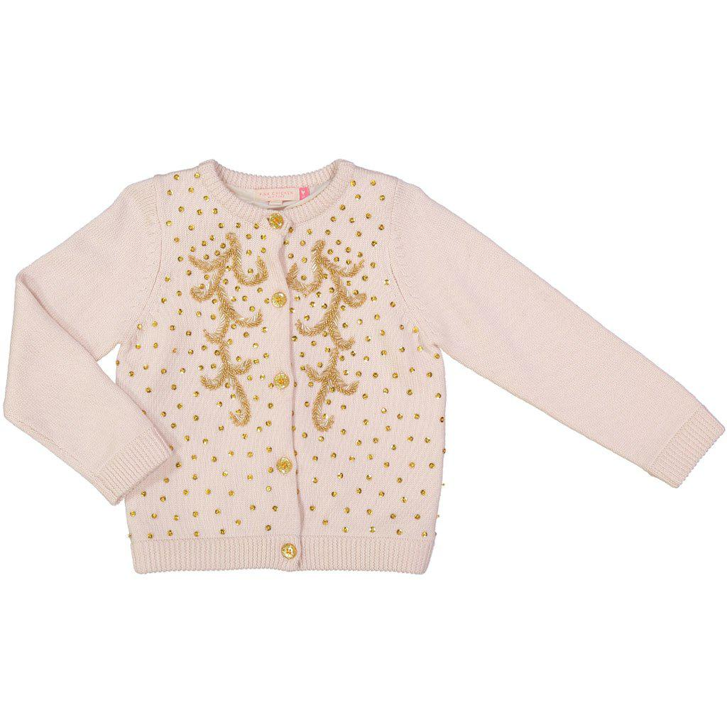 Pink Chicken Maude Beaded Sweater 2y cream - 18ffpc635a