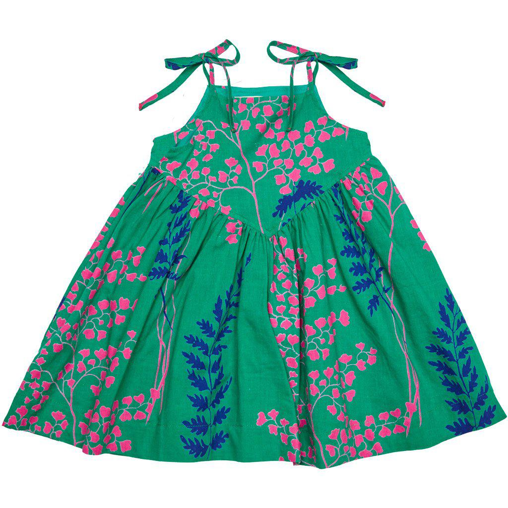 Pink Chicken Monroe Dress 2y bosphorous green oversized fern - 19sspc322c