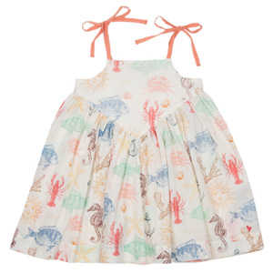 Pink Chicken Monroe Dress 2y multi sea creatures