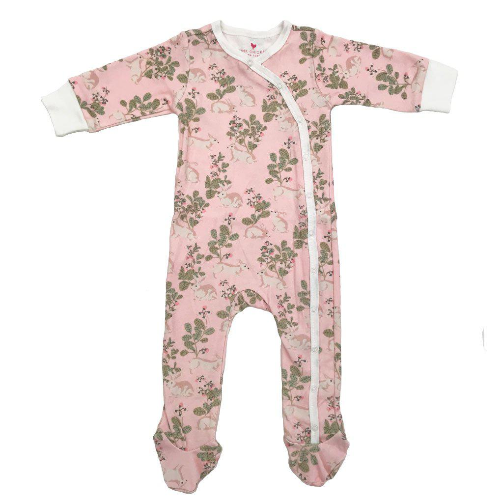 Pink Chicken Ripley Romper 0/3m strawberry cream rabbits - 18spcn924e
