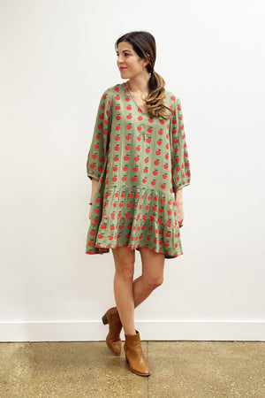 Pink Chicken Nina Dress XS olive green apple