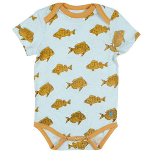 Pink Chicken Oliver Bodysuit 0/3m wan blue fish