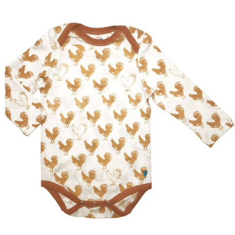 Pink Chicken Oliver Bodysuit 3/6m antique white rooster - 18fbrb210c