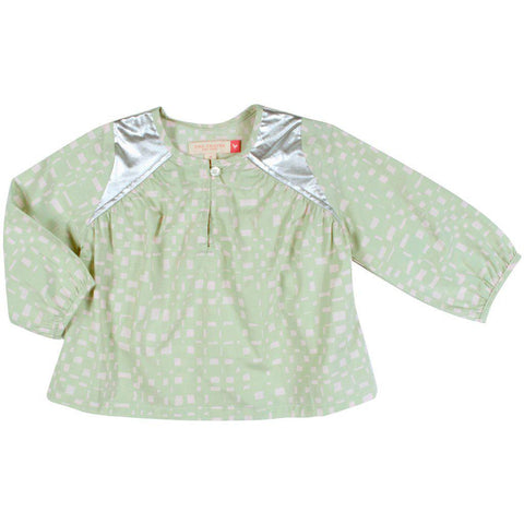 Pink Chicken Opal Top 2y frosty green abstract plaid - 19ffpc337a