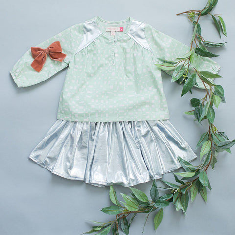 Pink Chicken Gianna Skirt 2y silver lame - 19ffpc523c