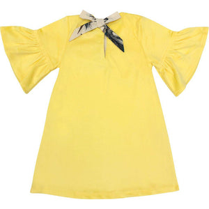 Pink Chicken Ophelia Dress 2y bright yellow velour - 19ffpc191d