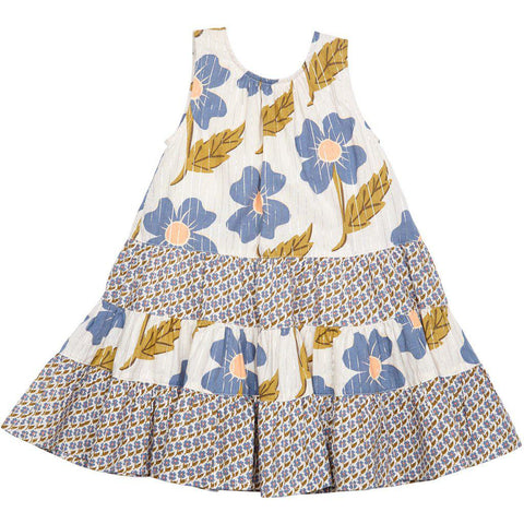 Pink Chicken Pearl Dress 2y vapor blue diagonal flower - 19spc285b