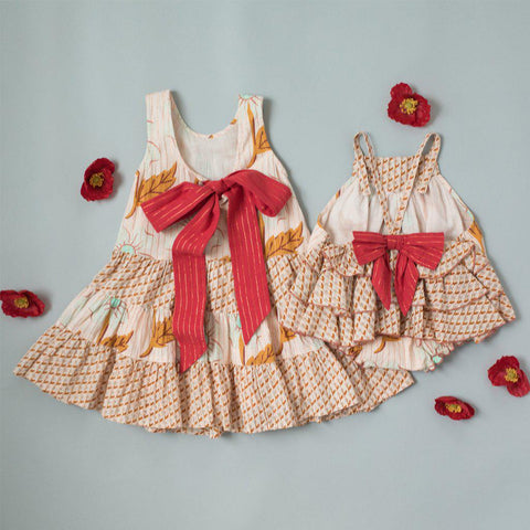 Pink Chicken Pearl Dress 2y cloud pink diagonal flower - 19spc285a