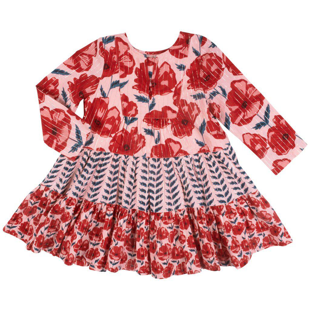 View larger version of Pink Chicken Penelope Dress 2y 19ffpc130a - crystal rose floral