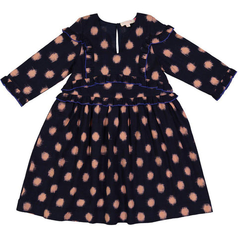 Pink Chicken Phoenix Dress 2y navy polka dot ikat - 18ffpc267a