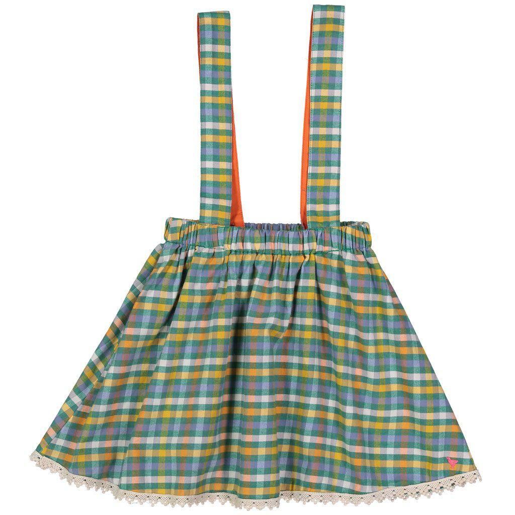 Pink Chicken Pia Pinafore Skirt 2y foliage plaid - 18fpc280a