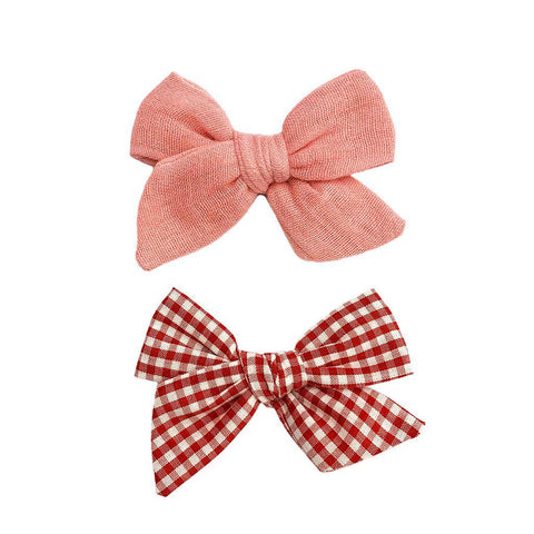 Pink Chicken Bow Clip Set ONE SIZE pink/red gingham