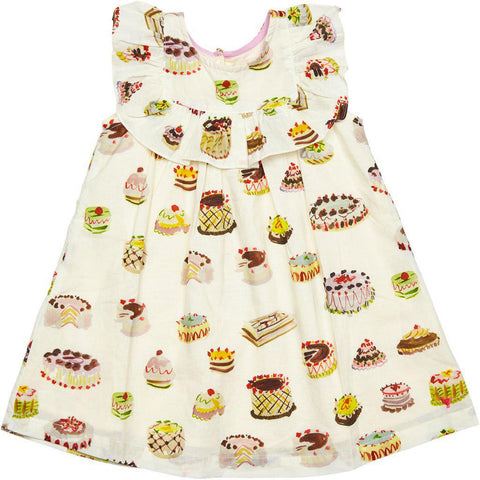 Quinn baby girl dress with antique white multi dessert print