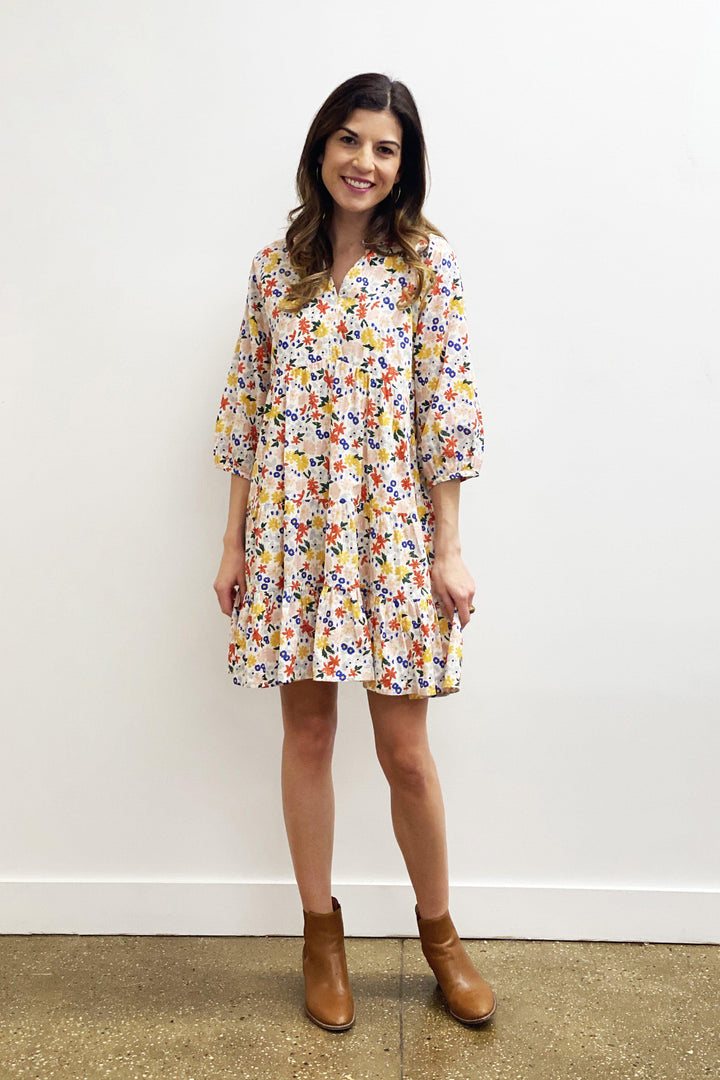 Pink Chicken Raimie Dress XS multi floral