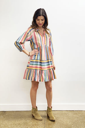 Pink Chicken Raimie Dress XS multi stripe