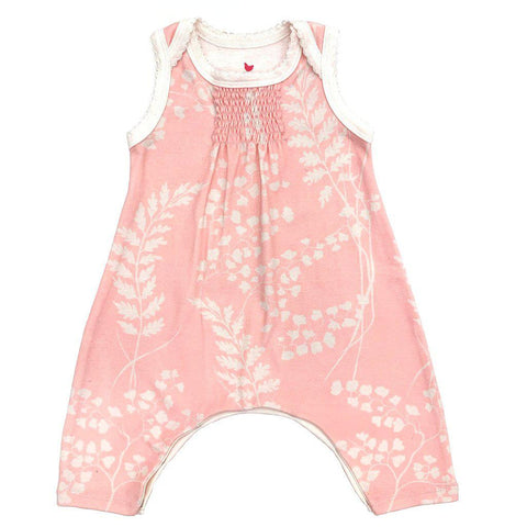 Pink Chicken Raine Romper 0/3m crystal rose oversized fern - 19spcl7a