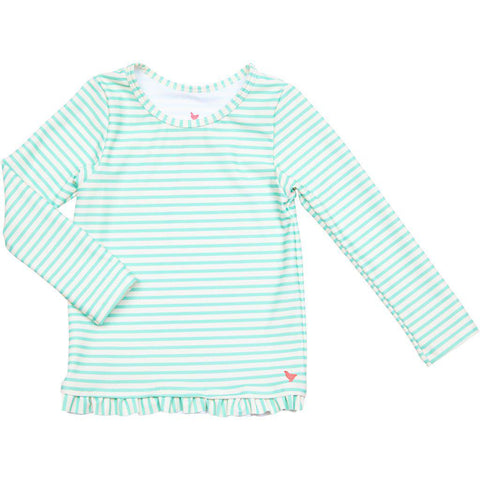 Pink Chicken Ruffle Rash Guard 2y dusty jade green skinny stripe - 19spcs105e