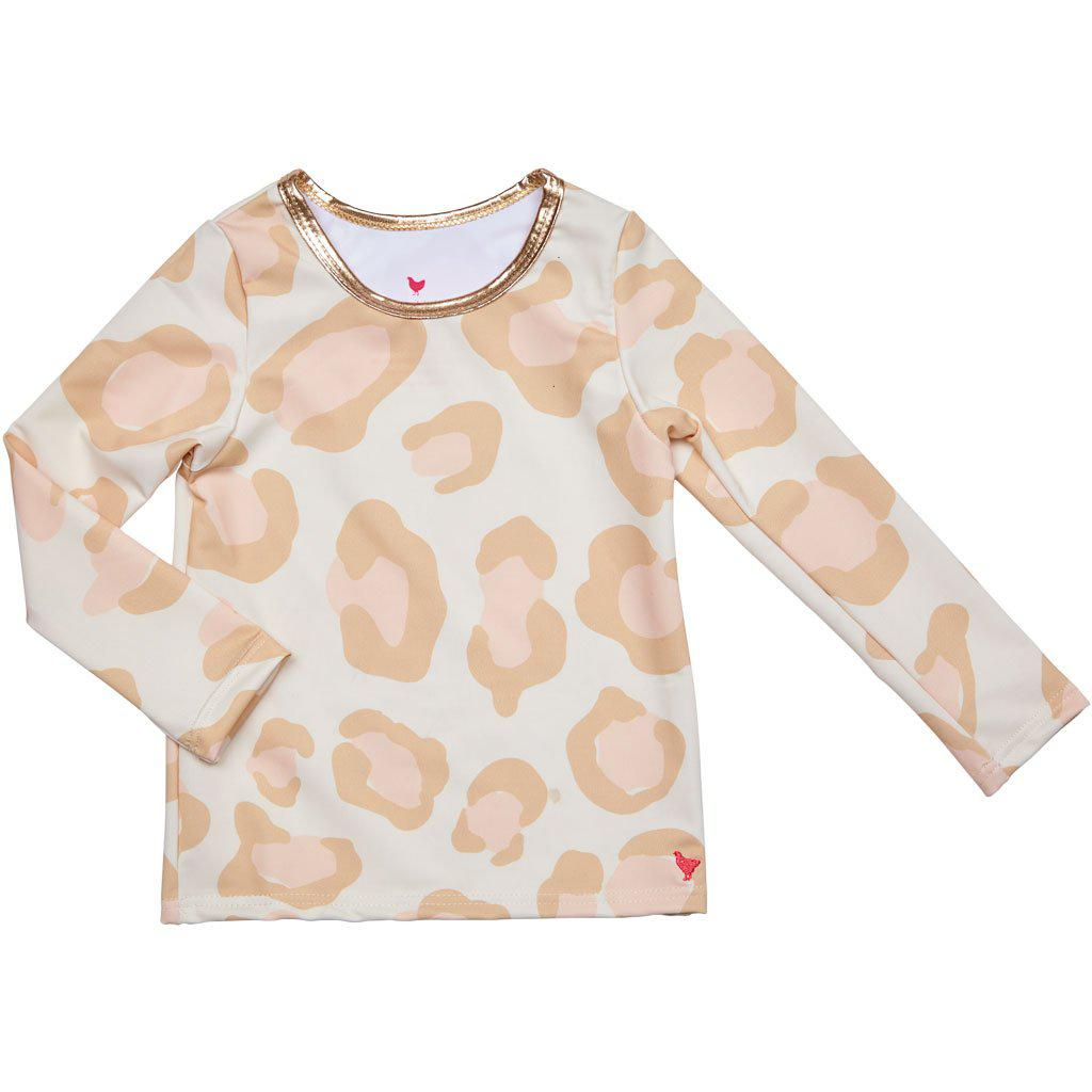 Pink Chicken Rash Guard 2y antique white oversized leopard - 19spcs105b