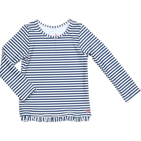 Pink Chicken Ruffle Rash Guard 2y dress blues skinny stripe - 19spcs105f