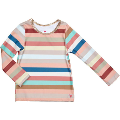 Pink Chicken Rash Guard 2y multi vintage stripe - 19spcs105c