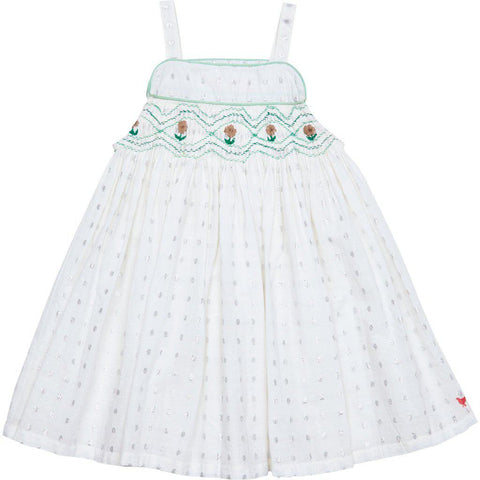 100% cotton dress with silver lurex dots woven throughout. Floral embroidery at the top. Front view.