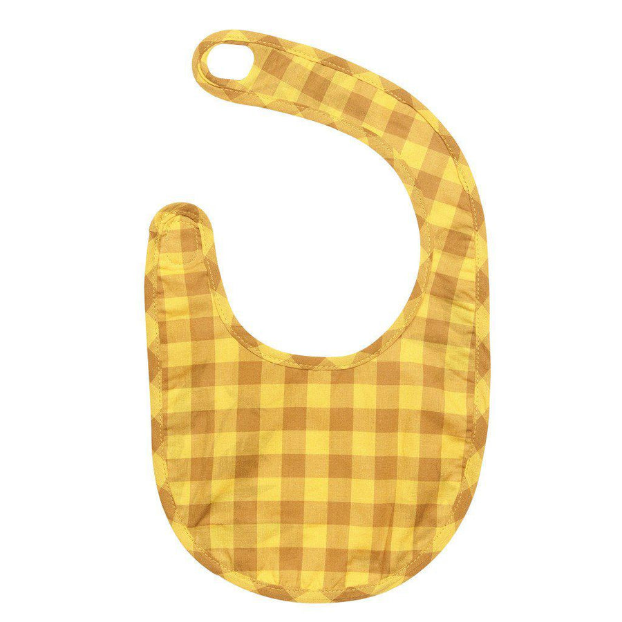 Pink Chicken Reversible Bib ONE SIZE white floral & yellow gingham - 17fpca147b