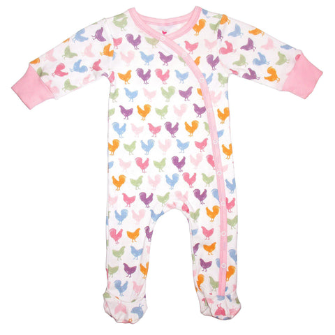Baby romper in colorful pink chicken print.