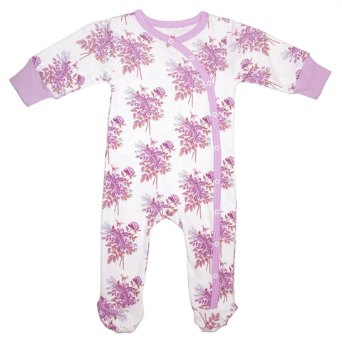 Long sleeve baby romper with purple flowers