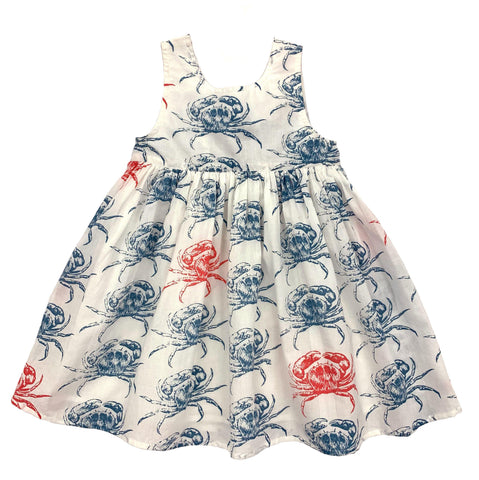 Pink Chicken River Dress 2y antique white crab - 19supc328a