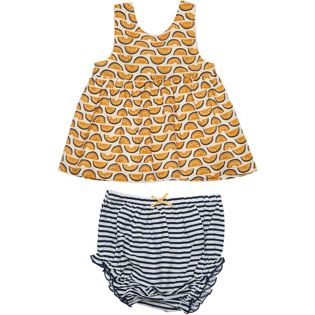 River 2 piece set for baby featuring watermelon print combined with classic blue and white stripes. Front view.