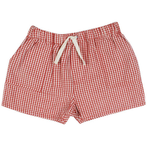 Pink Chicken Baby Sean Short 3/6m red gingham - 19sbrb223b