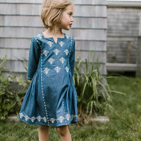 Pink Chicken Sobi Dress 2y embroidered chambray - 19espc212a