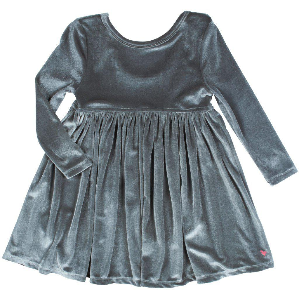 Pink Chicken Steph Dress 2y dark gray velour - 19ffpc220g
