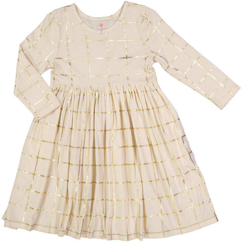Pink Chicken Steph Dress 2y angora w/gold tattersall - 18fpc220b